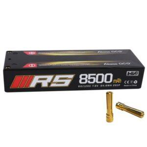 Gens ace 8500mAh 7.6V HV 120C Serie 2S1P Hard Case con 4.0 mm Banana