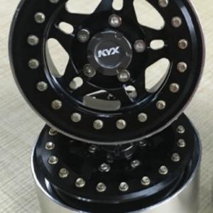 """Juego de llantas KYX 1/10 1.9"""" Aluminio 5 radios negro (4 piezas)"""